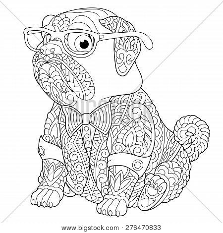 Coloring Page. Coloring Book. Anti Stress Colouring Picture With Pug Dog. Freehand Sketch Drawing Wi