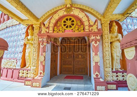 The Ornate Porch Of The Pagoda Of Sitagu International Buddhist Academy With Rich Decorations, Wheel