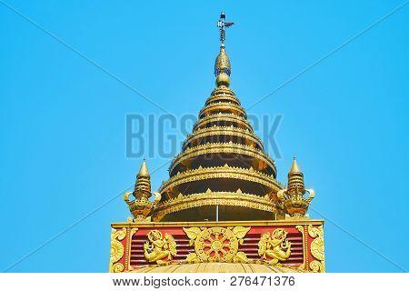 The Golden Multi-staged Hti Umbrella Of Sitagu International Buddhist Academy Pagoda With Relief Dec
