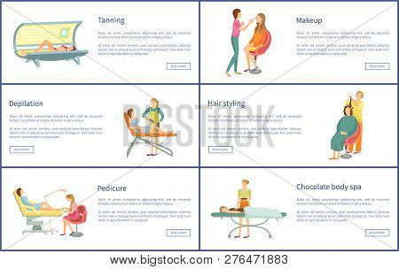 Tanning And Makeup, Depilation And Hair Styling Posters With Text Sample Set Vector. Webpages Of Ped