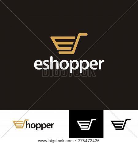 Vector, Icon, Symbols E Shopper Online Logo Template Design.