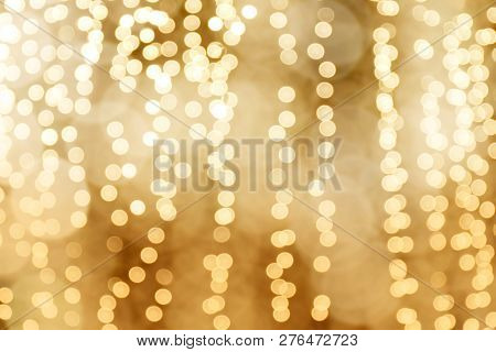 Lighting Bokeh Gold Bright Christmas Happy New Year Background, Glamour Gold Color Background, Blurr