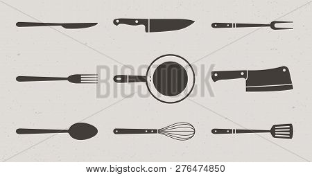 9 Restaurant And Kitchen Elements Icons. Butcher Knives, Grill Fork And Spatula, Spoon, Fork And Kni