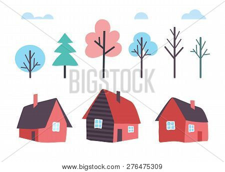 Houses Made Of Wood And Winter Trees Forest Vector. Wooden Cottage Facade, Shelter Front Exterior Wi