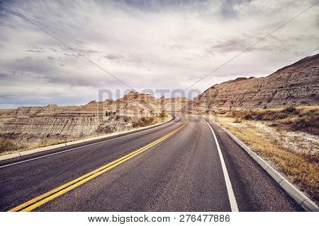 Scenic Road In Badlands National Park, Color Toned Picture, South Dakota, Usa.