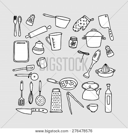 Kitchen Tools Line Icon Set. Set Of Line Icons On White Background. Knife, Juicer, Frying Pan. Cooki