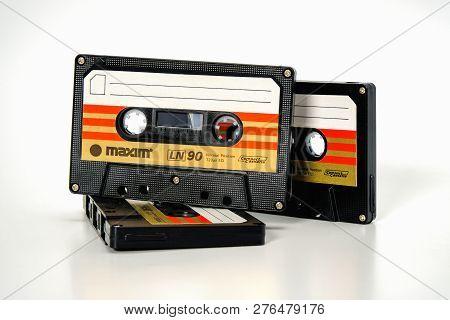 Prague, Czech Republic - November 29, 2018: Three Audio Compact Cassette Maxim Ln 90. Worst Audio Ca
