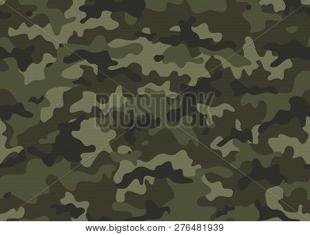 Texture Military Camouflage Seamless Pattern. Abstract Army And Hunting Masking Ornament Repeat