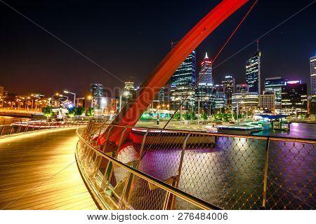 Perth, Western Australia - Jan 5, 2018: Arcade Of Elizabeth Quay Pedestrian Bridge By Night At Eliza