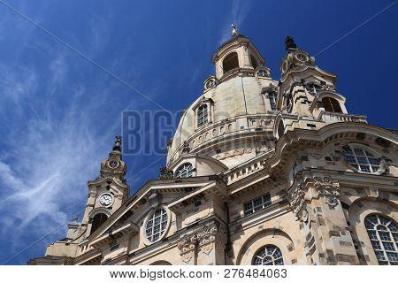 Dresden, Germany. Frauenkirche Lutheran church. Baroque church rebuilt after World War 2 destruction. poster