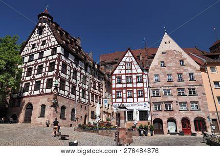 Nuremberg, Germany - May 7, 2018: People Visit The Old Town In Nuremberg, Germany. Nuremberg Is Loca