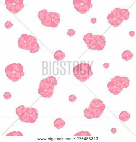Sakura Flowers Seamless Pattern. Abstract Pink Flowers On White Background. Design Element Stock Vec