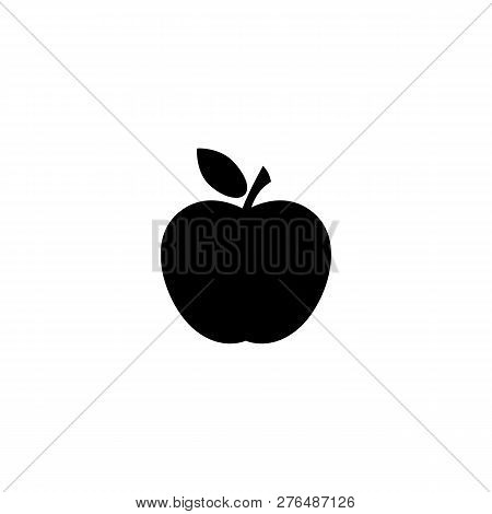 Apple Icon In Black. Fresh Apple With Leaf Symbol In Flat Style Isolated On White Background. Simple
