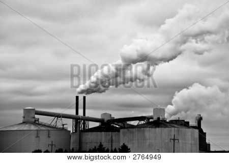 Black And White Industrial Factory And Smoke