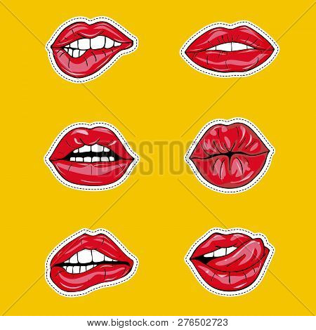 Set Of Sexy Female Lips In Red Glossy Lipstick, Seductive, Kissing, Bitten, With Tongue, Lollipop, C