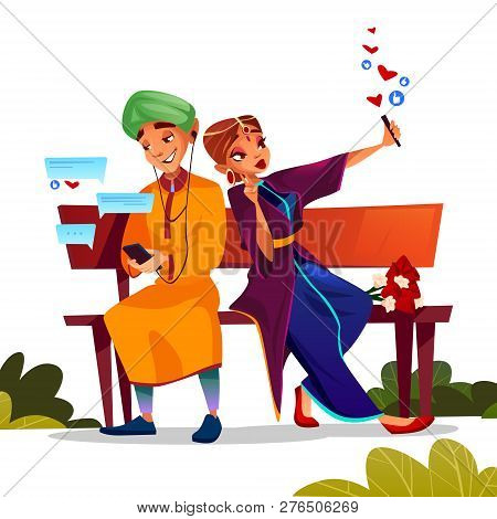 Young Couple Dating Illustration Of Teen Boy And Girl Sitting On Bench Together With Flowers Bunch A