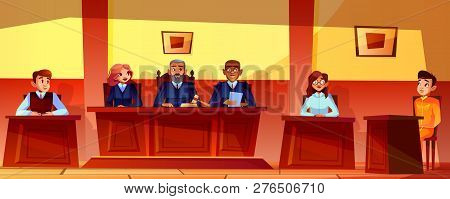 Court Hearing Illustration Of Courtroom Interior Background. Judges, Prosecutor Or Advocate Man, Leg