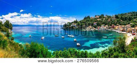 Scenic ionian islands of Greece - beautiful Paxos. view of Loggo