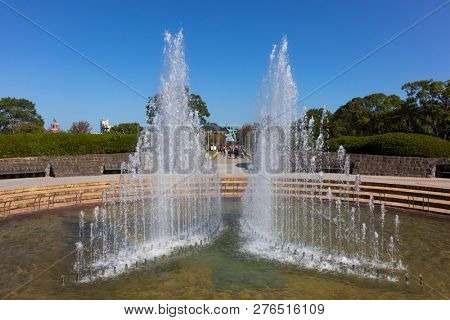 Nagasaki, Japan - October 25, 2018: Fountain of Peace at Nagasaki Peace Park in Nagasaki, Japan