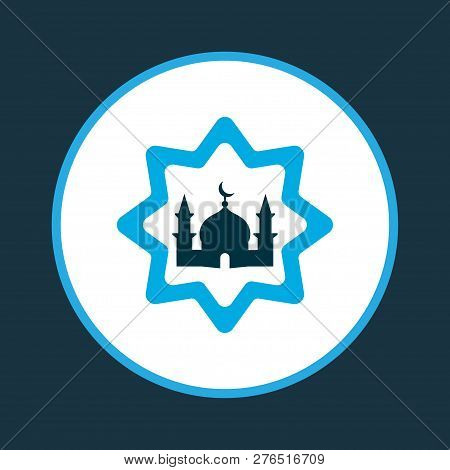 Building Icon Colored Symbol. Premium Quality Isolated Masjid Element In Trendy Style.