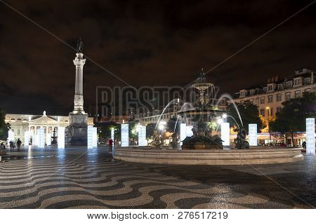 Lisbon, Portugal - December 11, 2011: View Of The Rossio Square (praca D. Pedro V) In The City Of Li