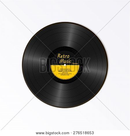 Realistic Black Vinyl Record. Retro Sound Carrier. New Gramophone Yellow Label Lp Record With Text.