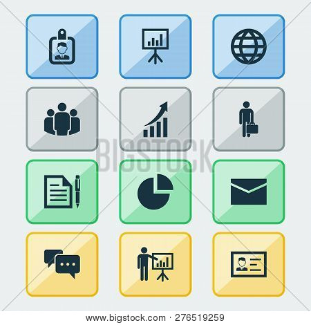 Trade Icons Set With Mail, Circle Graph, Conversation And Other Chatting Elements. Isolated Vector I