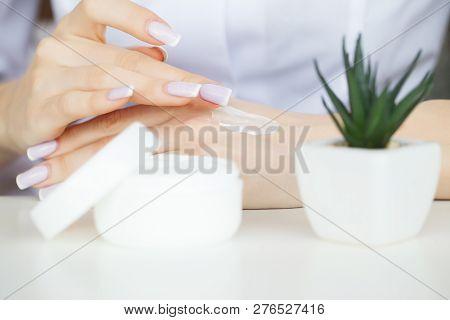Woman Hand Cream. Beauty Woman Hands Hydrating With Moisturizer Cream