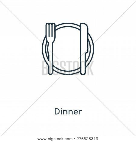 Dinner Icon In Trendy Design Style. Dinner Icon Isolated On White Background. Dinner Vector Icon Sim