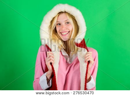 Woman Emotional Face Posing In Warm Furry Hood. Winter Time For Cozy Warm Accessories. Lets Stay War