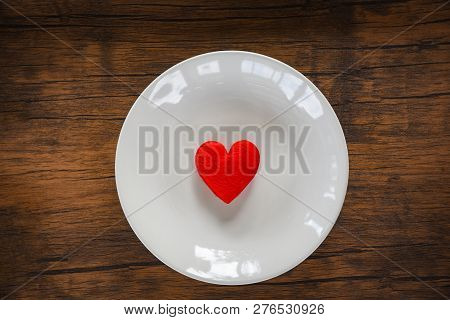 Valentines Dinner Romantic Love Food And Love Cooking Concept Red Heart On White Plate Romantic Tabl