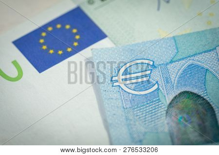 European Economy, Financial, Investment Or Currency Exchange Concept, Closed Up Shot Of Euro Sign Sy