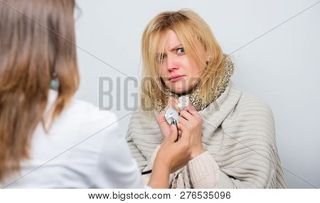 Doctor Woman Examine Sick Person. Recognize Symptoms Of Cold. Home Visiting Doctor Service. Medical