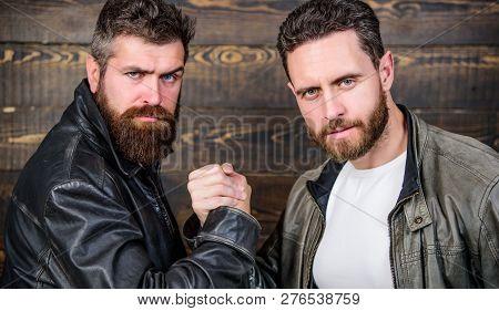 Real Men And Brotherhood. Strong Handshake. Friendship Of Brutal Guys. Mafia Dealer. Real Friendship