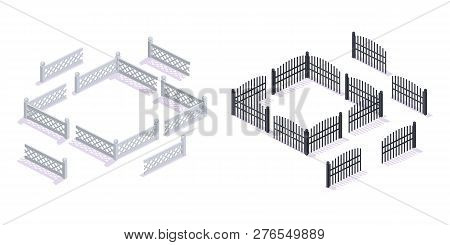 Stone, Metal 3d Fences, With Gates, For Garden, Urban Architecture.