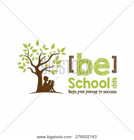 Education Logo Concept With Child Reading A Book Under The Tree, Education, School, Growth Student L