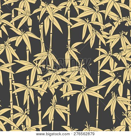 Beautiful Japanese Seamless Pattern. Asian Bamboo Forest, Dark Background. Japanese Bamboo For Conce