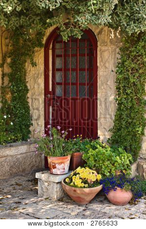 Old house door in historical district Yemin Moshe Jerusalem Israel poster