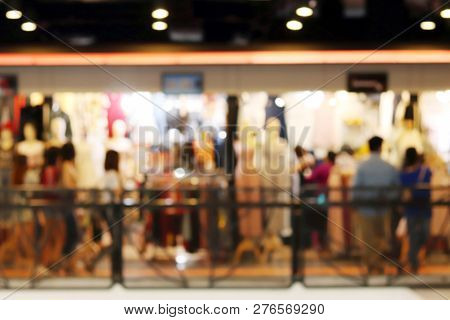 Blurred Picture Of Shopping People At Clothing Store Fashion Shop Inside Shopping Mall, Department S
