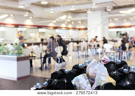 Plastic Waste Garbage Bag Black Bin Full Lots Pile Of Junk At Front Canteen Food Court Mall Departme