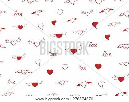Seamless Pattern With Heart. Hand Drown Sketch Hearts With Wings And Love. Happy Valentines Day Back