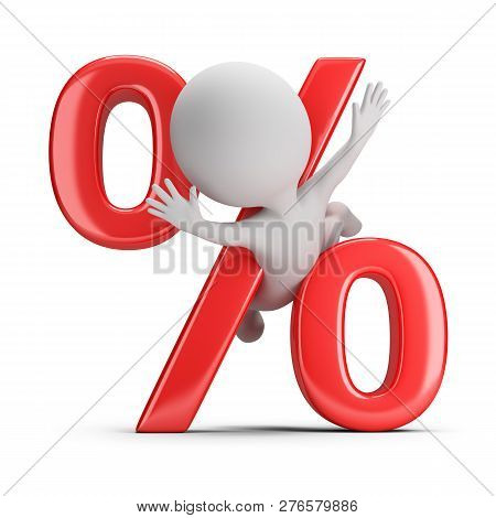 3d Small Person Clamped By Percent. 3d Image. White Background.