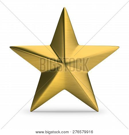 Gold Star. 3d Image. Isolated White Background.