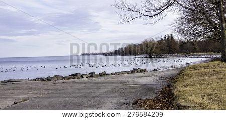 Walkway Along Lake Ontario In The Winter. January In Upstate Ny