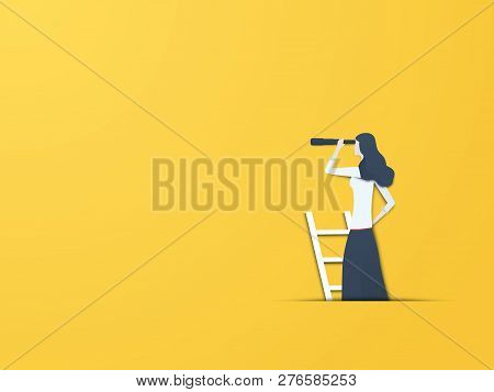 Business Vision Vector Concept With Businesswoman With Telescope. Modern Paper Cutout Style. Symbol