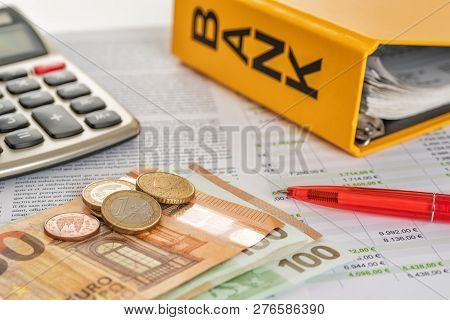 Euro Bills  With Calculator And Account Statements