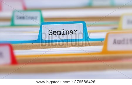 File Folders With A Tab Labeled Seminar