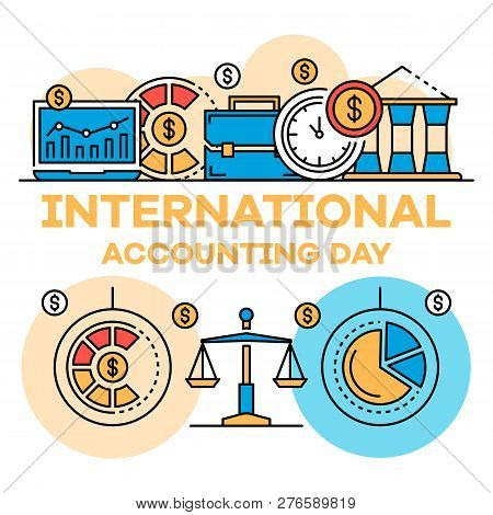 International Accounting Day Banner. Outline Illustration Of International Accounting Day Banner For