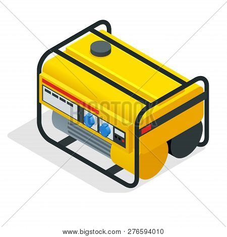 Isometric Yellow Gasoline Generator. Industrial And Home Immovable Power Generator. Diesel Electric