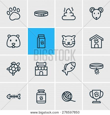 Illustration Of 16 Pet Icons Line Style. Editable Set Of Hamster, Pet Poo, Collar And Other Icon Ele
